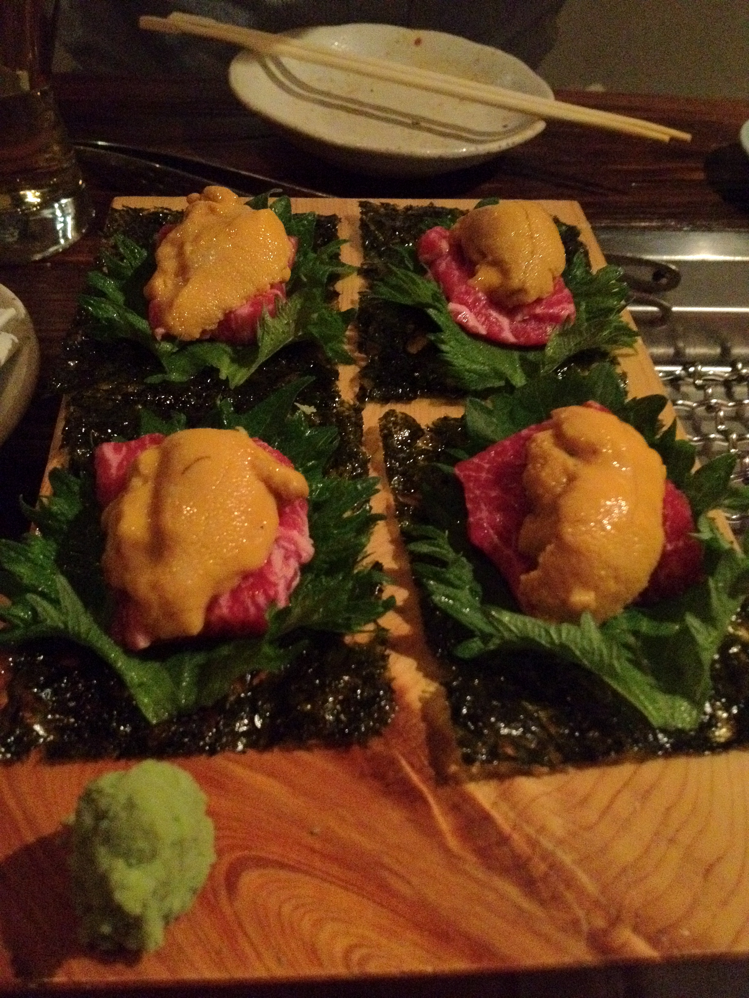 Niku-Uni (chuck flap topped with sea urchin) at Yakiniku Takashi